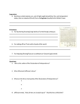 Declaration of Independence Adaptive Worksheet