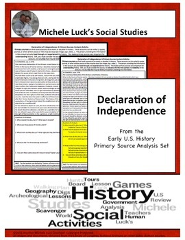 Declaration of Independence American Revolution Document Analysis Activity