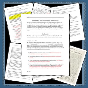 Declaration of Independence Analysis - FREE Resource!