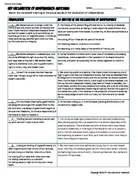Declaration of Independence Analysis Worksheet Common Core