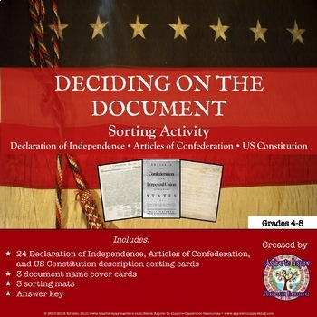 Declaration of Independence, Articles of Confederation, & Constitution Card Sort