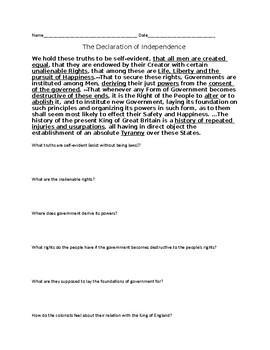Declaration of Independence Breakdown