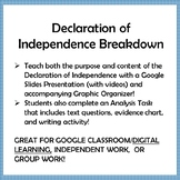 Declaration of Independence Breakdown; Slides, Graphic Organizer, Analysis Task