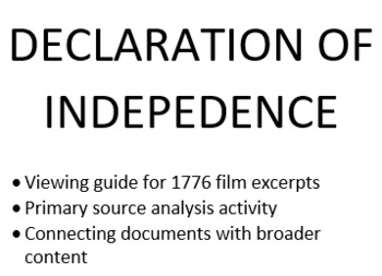 Declaration of Independence Bundle: 1776 Film Guide & Primary Source Analysis