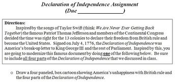 Declaration of Independence Choice Assignment