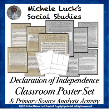 Declaration of Independence Classroom Posters Bulletin Board Decor Set & BONUS