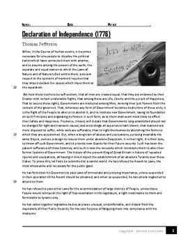 Declaration of Independence- Close Reading