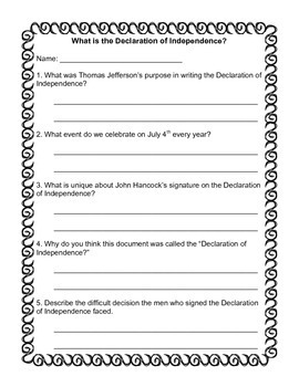 Declaration of Independence- Common Core Reading, Writing, and SS Unit