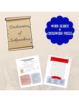 Declaration of Independence Crossword Puzzle and Word Search