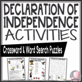 Declaration of Independence Activities Crossword Puzzle and Word Search Find