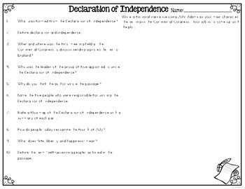 Declaration of Independence {Differentiated Reading Passages & Questions}