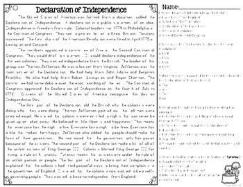 declaration of independence differentiated reading passages questions. Black Bedroom Furniture Sets. Home Design Ideas