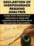 Declaration of Independence Reading Analysis Lesson