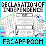 Declaration of Independence ESCAPE ROOM!  Parts of the Declaration | No Prep!