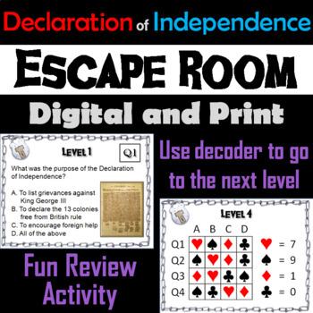 Declaration of Independence: Escape Room - Social Studies