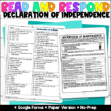 Declaration of Independence Google Forms | Distance Learning