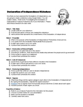 Declaration of Independence Google Slide Project Instructions