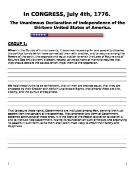 Declaration of Independence: Group Project Hardcopy