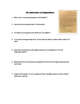 Declaration of Independence Guided Reading Questions