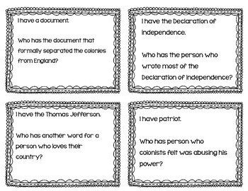 "Declaration of Independence ""I Have, Who Has?"" Whole Group Vocabulary Review"