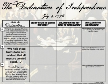 """Declaration of Independence: """"In Your Words!""""  Students critique and restate!"""
