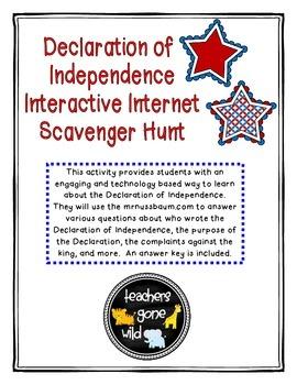 Declaration of Independence Internet Scavenger Hunt