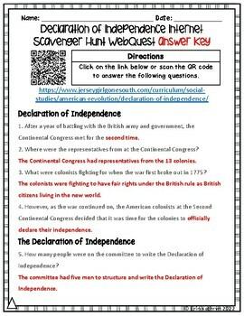 Declaration of Independence Internet Scavenger Hunt WebQuest