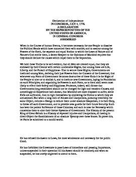 Declaration of Independence Lesson & Worksheets