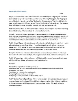 Declaration of Independence Letter Project -- Break up Letter with King George 3