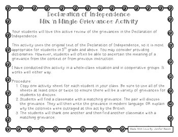 Of independence mix n mingle grievances activity grades 5 12 declaration of independence mix n mingle grievances activity grades 5 12 publicscrutiny Image collections
