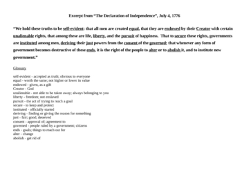 Declaration of Independence Origins and Glossary