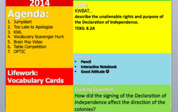 Declaration of Independence PPT (Pair with Guided Notes)