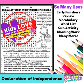Declaration of Independence: Preamble Activity: Word Search: Vocabulary