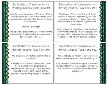 Declaration of Independence Task Cards