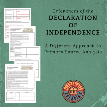 Declaration of Independence:  Prove It!  Primary Source Analysis, Grievances