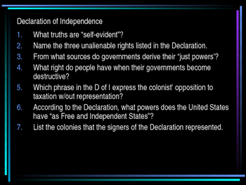 Declaration of Independence Q and A