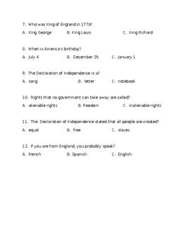 Declaration of Independence Quiz