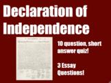 Declaration of Independence Quiz and Essays