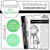 Declaration of Independence Reading Passage & Questions {4th & 5th Grade}