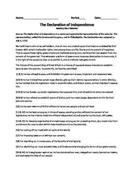 Declaration of Independence Reading and Questions