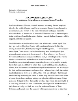 Declaration of Independence Rewrite Full Lesson Plan