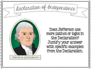 Declaration of Independence Task Cards