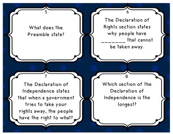 Declaration of Independence Task Cards - Set of 20