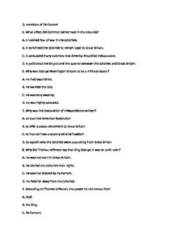 Declaration of Independence Test