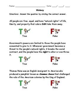 Declaration of Independence VAAP Assessment Visual Helper Autism