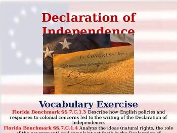 Declaration of Independence - Unit Vocabulary Exercise
