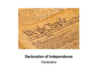 Declaration of Independence - Vocabulary Lesson