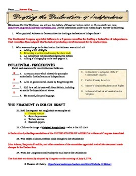 Declaration of Independence WebQuest and QR Code Activity