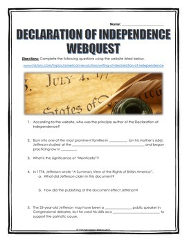 Declaration of Independence - Webquest with Key (History.com)