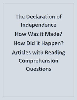 Declaration of Independence - What Does It Say - Reading Comprehension